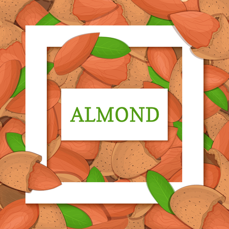 nutshell: Square white frame and rectangle label on almond nuts background. Vector card illustration