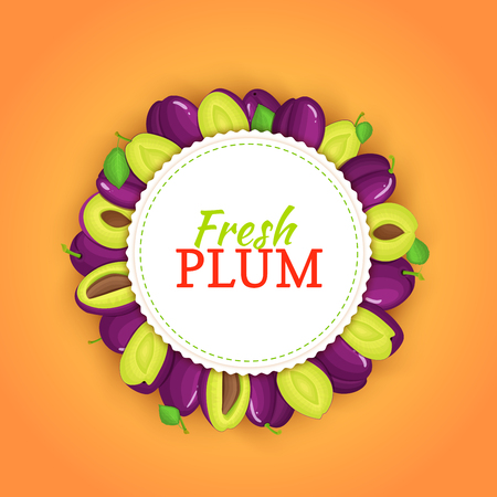 prune: Round frame composed of ripe plums fruit. Vector card illustration. Illustration
