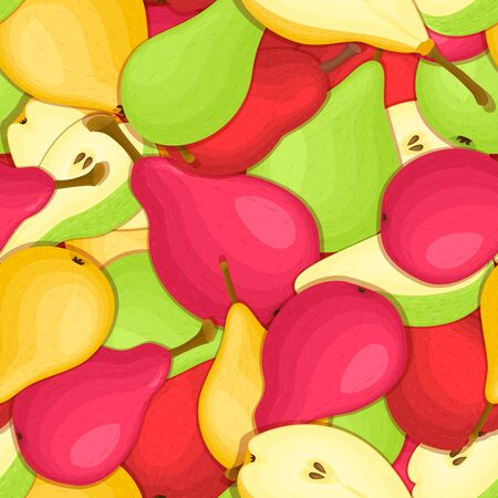 detox: Ripe juicy pear seamless background. Vector card illustration. Illustration