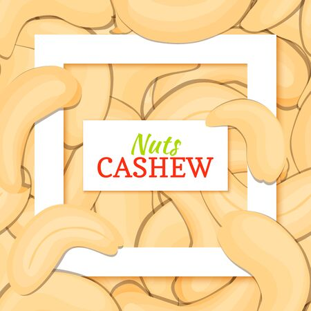 nutty: Square white frame and rectangle label on cashew nuts background. card illustration.