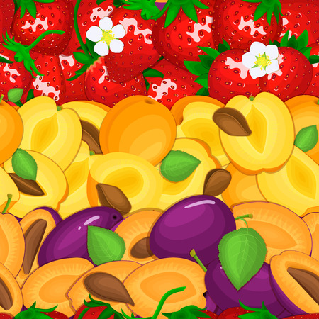 closely: Ripe juicy plum apricot strawberry seamless background. Vector card illustration.