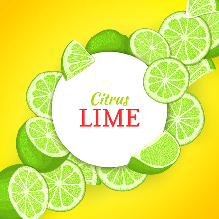 closely: Round white frame on citrus lime diagonal composition background Vector card illustration