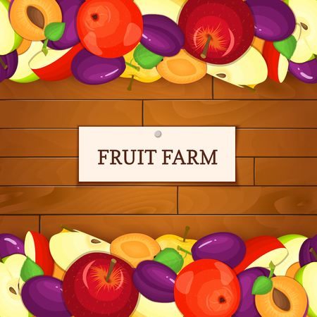 prune: Wooden box with fruits. Vector illustration. Boards wood background, border with apples and plum fruit and label. For the design of packaging, food marmalade, jam, juice, detox diet Stock Photo