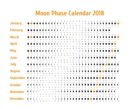Vector astrologische kalender voor 2018. Maanfase kalender voor donkergrijs op een witte achtergrond. Creatieve maankalender met datums en dagen van de week op een witte achtergrond ideeën voor uw ontwerp