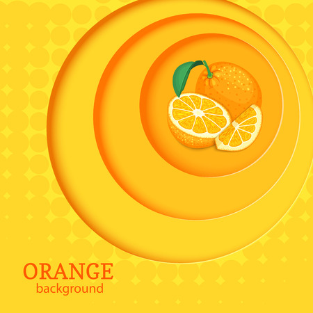 closely: Orange bright background with circles on top of each other and citrus fruit orange. Illustration