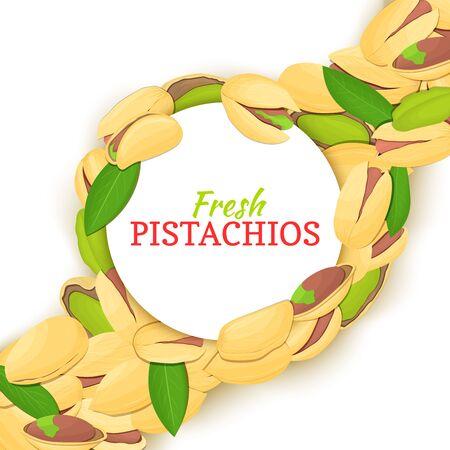 Round white frame on pistachio nut diagonal composition background. Vector card illustration. Illustration