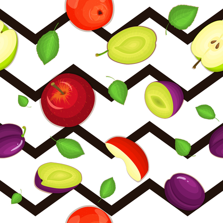 prune: Seamless vector pattern of ripe plum, apple fruit. Striped zig zag background with delicious juicy plums apple slice half. Vector fruits Illustration for printing on fabric textile, packaging Illustration