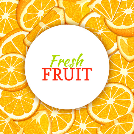 Round white label on citrus orange fruit background. Vector card illustration.