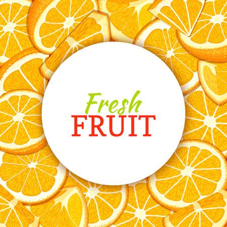 Round white label on citrus orange fruit background. Vector card illustration.
