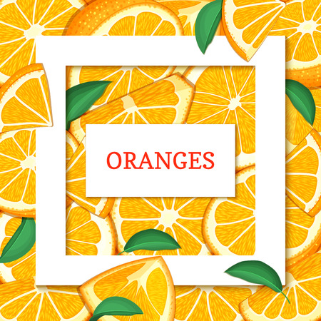 closely: Square white frame and rectangle label on citrus orange fruit background. Vector card illustration. Tropical fresh and juicy oranges fruits for design of food packaging juice breakfast detox diet