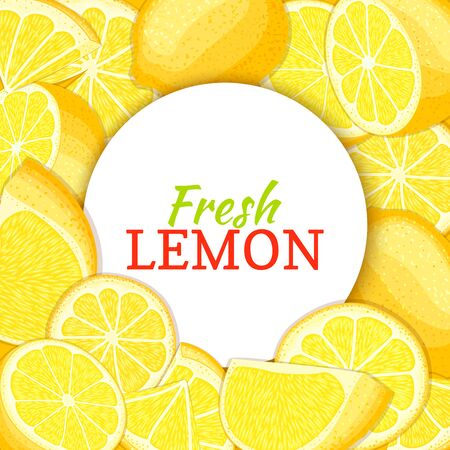 closely: Round white label on citrus lemon background. Vector card illustration. Tropical fresh and juicy yellow lime frame peeled piece of half slice for design of food packaging juice breakfast, detox diet