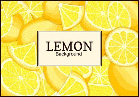 closely: Rectangular label on citrus lemon fruits background. Vector card illustration. Illustration