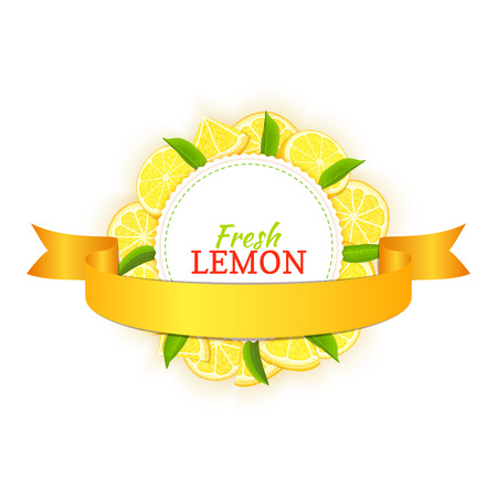 closely: Round colored frame composed of delicious tropical lemon fruit and leaves and gold ribbon. Vector card illustration.