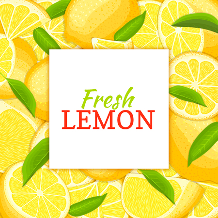 closely: square white label on citrus leme background. Vector card illustration. Tropical fresh and juicy yellow lime frame peeled piece of half slice for design of food packaging juice breakfast