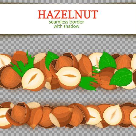 closely: Hazelnut Horizontal seamless border. Vector illustration card.