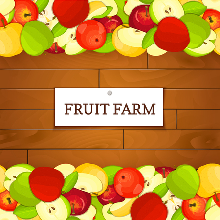 marmalade: Wooden box with apple fruits. Vector card illustration. Boards wood background, border with apples fruit and label. For the design of packaging, food marmalade, jam, juice, detox diet
