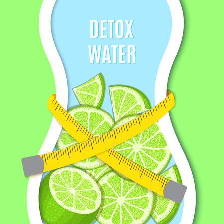 Silhouette of a bottle like Female figure, tape measure on waist, citrus lime fruit. Vector card llustration. Векторная Иллюстрация