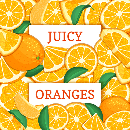 closely: Two white rectangle label on orange fruit background. Vector card illustration.