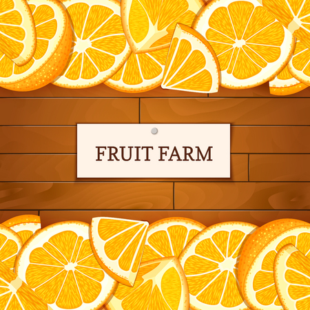 marmalade: Wooden box with tropical orange fruits. Vector card illustration. Boards wood background, border with oranges fruit and label. For the design of packaging, food marmalade, jam, juice, detox diet