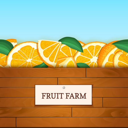 Wooden box with citrus orange fruits. Vector card illustration. Boards wood background, border with orange fruit and label. For the design of packaging, food marmalade, jam, juice detox diet cosmetics