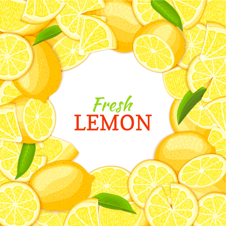 tangerine: Lemon white round frame. Vector card illustration. Tropical fresh and juicy yellow lime fruits background with place for text for design of food packaging breakfast, detox, cosmetics cream, jam, juice