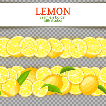 Ripe lemon horizontal seamless borders. Vector illustration card Wide and narrow endless strip with Juicy yellow lime fruits and leaves for design of juice breakfast, healthy eating, detox, cosmetics.