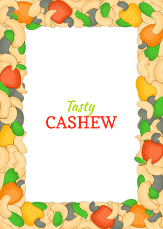 nutty: Vertical Rectangle colored frame composed of delicious of cashew nut. Vector card illustration. Nuts frame, cashew nuts fruit in the shell, whole, shelled, leaves for packaging design of food.