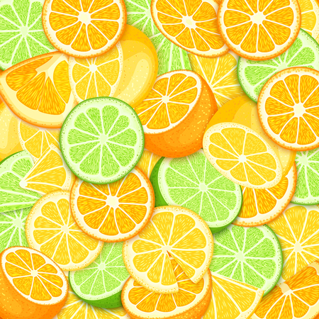 limon caricatura: Ripe juicy tropical orange lime lemon background vector card illustration. Closely spaced fresh citrus orange fruit peeled, piece of half, slice pattern for packaging. Vectores