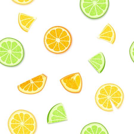 Illustrazione succosa matura di vettore del fondo di frutti tropicali. Frutto fresco di agrumi lime arancio limone sbucciato, pezzo di mezzo, affettare modello senza soluzione di continuità per l'imballaggio