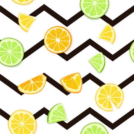 Ripe juicy tropical fruit striped seamless background vector card illustration. Fresh citrus lime orange lemon fruit on black lines seamless pattern for packaging Иллюстрация