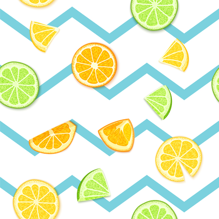 Ripe juicy tropical fruit striped seamless background. Vector card illustration. Fresh citrus lime orange lemon fruit on blue lines. Seamless pattern for packaging design healthy food juce detox diet Фото со стока - 83030218