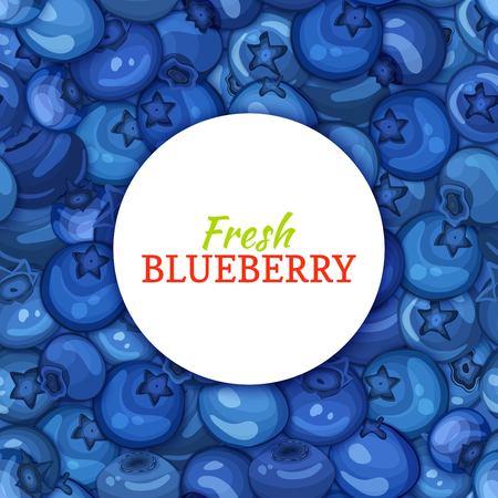 熟したブルーベリーの背景に円形の白ラベル。ベクトル カード イラスト。ブルー ベリー新鮮でジューシーなブルーベリー フレーム食品包装ジュー