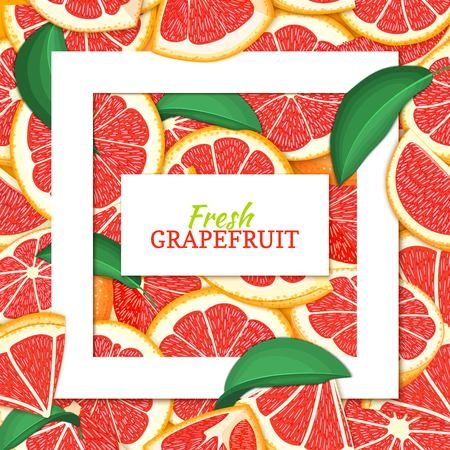 Square white frame and rectangle label on citrus red grapefruit background. Vector card illustration. Tropical fresh juicy pomelo closely spaced background for design of food packaging juice breakfast