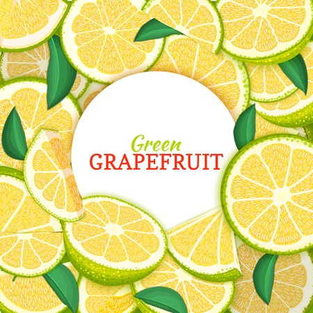 Round white label on citrus grapefruit background. Vector card illustration. Tropical fresh and juicy green pomelo frame peeled piece of half slice for d for packaging design healthy food, diet juce Illustration