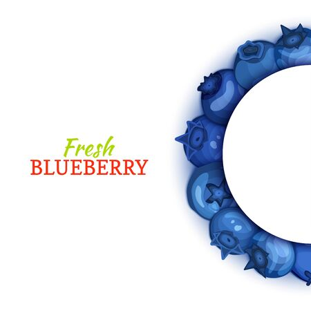 Semicircle colored frame composed of delicious blueberryfruit. Vector card illustration. Blue bilberry half-round frame for design of food packaging juice breakfast cosmetics tea detox diet.