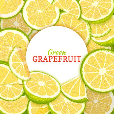 Round white label on citrus grapefruit background. Vector card illustration. Tropical fresh and juicy green pomelo frame peeled piece of half slice for d for packaging design healthy food, diet juce. Illustration