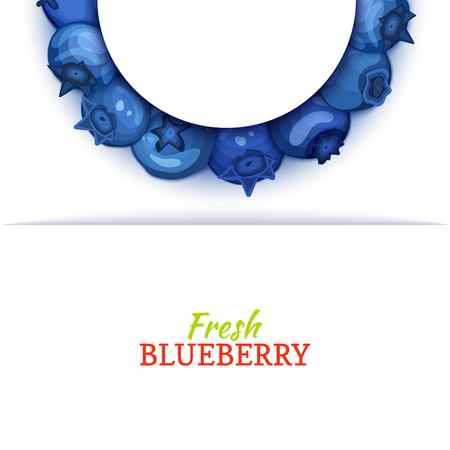 Semicircle colored frame composed of delicious blueberryfruit. Vector card illustration. Blue bilberry half-round frame for design of food packaging juice breakfast cosmetics tea detox diet. Banque d'images - 91380343