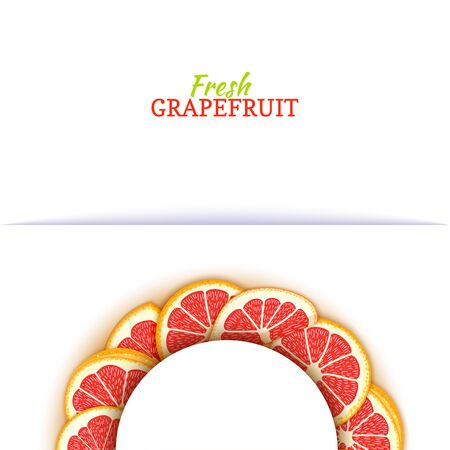 Semicircle colored frame composed of delicious red grapefruit. Vector card illustration. Pomelo citrus half-round frame for design of food packaging juice breakfast cosmetics tea detox diet Banque d'images - 91172316