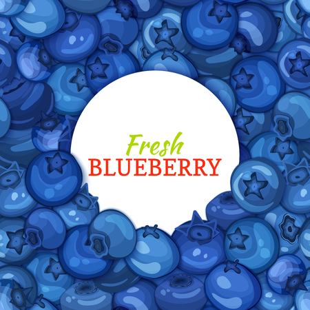 Round white label on ripe blueberry background. Vector card illustration. Blue berry fresh and juicy bilberry frame for design of food packaging juice breakfast, cosmetics, tea, detox diet