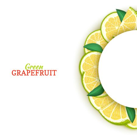 Semicircle white frame composed of delicious tropical green grapefruit. Vector card illustration. Pomelo citrus half-round frame for design of food packaging juice breakfast cosmetics tea detox diet.