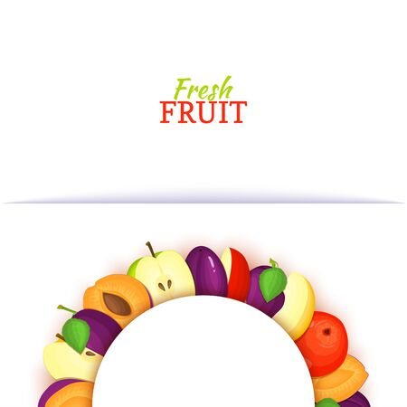 Semicircle colored frame composed of delicious apple plum fruit. Vector card illustration. Apples and plums half-round white frame for design of food packaging juice breakfast cosmetics tea detox diet