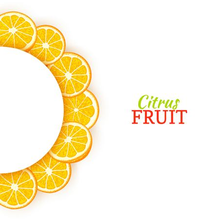 Semicircle white frame composed of delicious tropical oranges. Vector card illustration. Orange mandarin citrus half-round frame for design of food packaging juice breakfast cosmetics tea detox diet. Banque d'images - 91339241