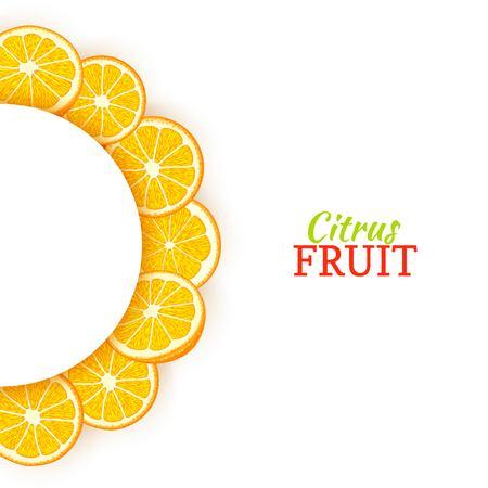 Semicircle white frame composed of delicious tropical oranges. Vector card illustration. Orange mandarin citrus half-round frame for design of food packaging juice breakfast cosmetics tea detox diet.