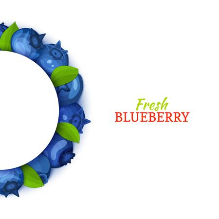 Semicircle colored frame composed of delicious blueberry fruit. Vector card illustration. Blue bilberry half-round frame for design of food packaging juice breakfast cosmetics tea detox diet. Banque d'images - 91800866