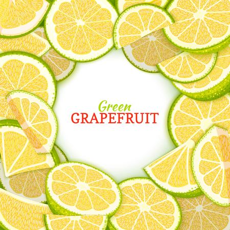 Round colored frame composed of delicious grapefruit. Vector card illustration. Green pomelo fresh and juicy citrus fruit frame for design of food packaging juice breakfast, cosmetics, tea detox diet