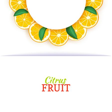 Semicircle white frame composed of delicious tropical oranges. Vector card illustration. Orange mandarin citrus half-round frame for design of food packaging juice breakfast cosmetics tea detox diet. Banque d'images - 91898848