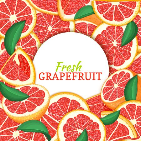 Round white label on citrus grapefruit background. Vector card illustration. Tropical fresh and juicy red pomelo frame peeled piece of half slice for d for packaging design healthy food, diet juce