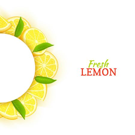 Semicircle white frame composed of delicious tropical lemon. Vector card illustration. Yellow lime citrus half-round frame for design of food packaging juice breakfast cosmetics tea detox diet. Banque d'images - 91826295