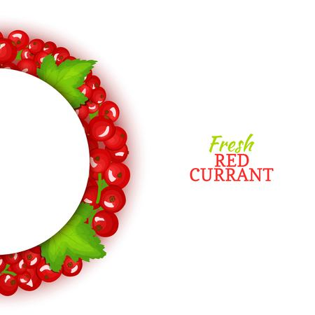Semicircle colored frame composed of delicious red currant fruit. Vector card illustration. Red currant berry half-round frame for design of food packaging juice breakfast cosmetics tea detox diet.