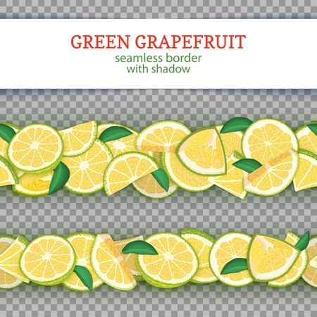 Ripe grapefruit fruit horizontal seamless borders.